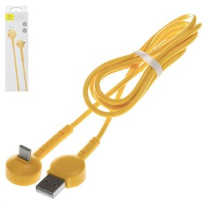 USB Cable Baseus, (USB type-A, USB type C, 100 cm, yellow, Γ-shaped, 2.1 A,  for phone charging ) #CATQX-0Y
